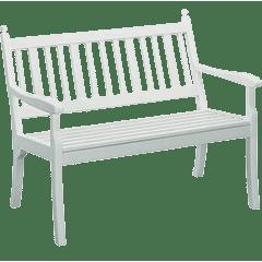 Weiße Gartenbänke